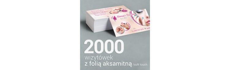 2000 Wizytówki z folią aksamitną Soft Touch