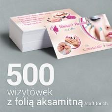 500 Wizytówki z folią aksamitną Soft Touch