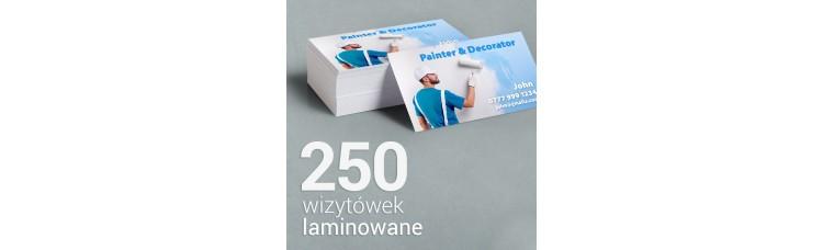 250 Wizytówki matowe laminowane